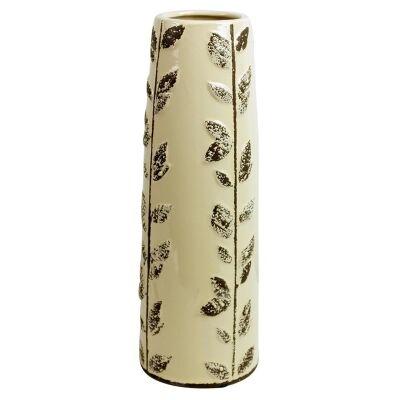 Large Leaf Stem Stoneware Vase