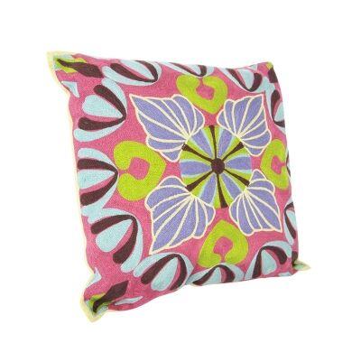 Suzani Embroidered Magneta Cotton Pillow - Style B