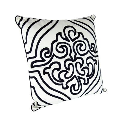 Kerman Black on White Cotton Cushion