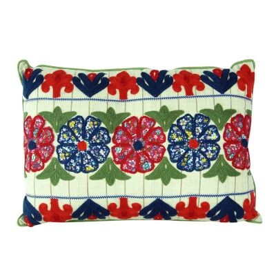 Embroidered Flowers Cotton Cushion - Style B