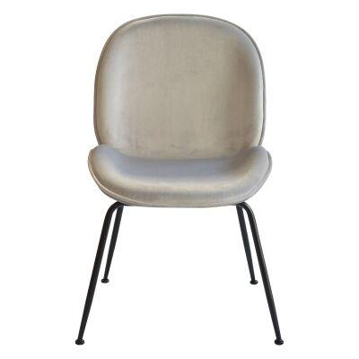 Garisi Velvet Fabric Dining Chair, Grey / Black