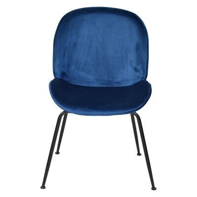 Garisi Velvet Fabric Dining Chair, Navy / Black