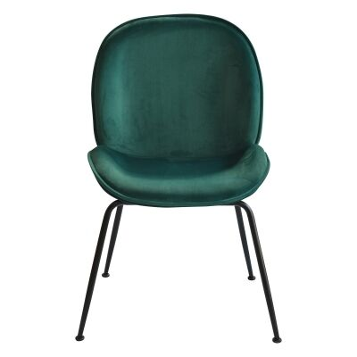 Garisi Velvet Fabric Dining Chair, Green / Black