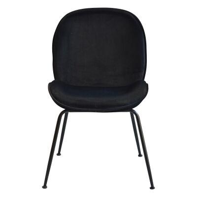 Garisi Velvet Fabric Dining Chair, Black / Black