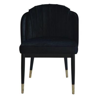 Ferraria Velvet Fabric Dining Chair, Black