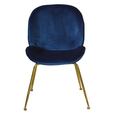 Garisi Velvet Fabric Dining Chair, Navy / Gold