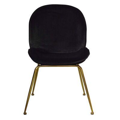 Garisi Velvet Fabric Dining Chair, Black / Gold