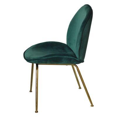 Garisi Velvet Fabric Dining Chair, Green / Gold