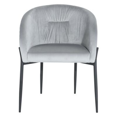 Cozzo Commercial Grade Velvet Fabric Dining Chair, Grey / Black