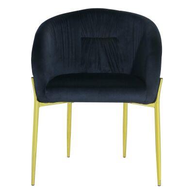 Cozzo Commercial Grade Velvet Fabric Dining Chair, Black / Gold