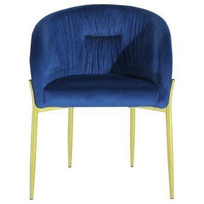 Cozzo Commercial Grade Velvet Fabric Dining Chair, Navy / Gold