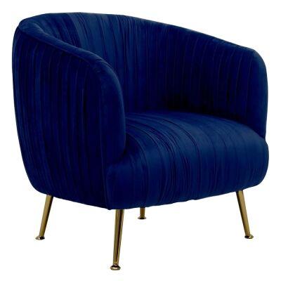 Dalton Commercial Grade Velvet Fabric Armchair, Navy