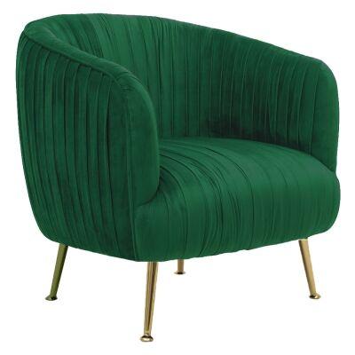 Dalton Commercial Grade Velvet Fabric Armchair, Green