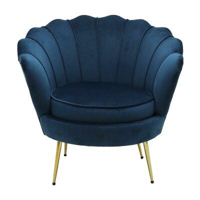 Hester Commercial Grade Velvet Fabric Armchair, Navy
