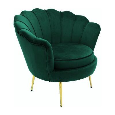 Hester Commercial Grade Velvet Fabric Armchair, Green