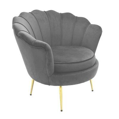Hester Commercial Grade Velvet Fabric Armchair, Grey