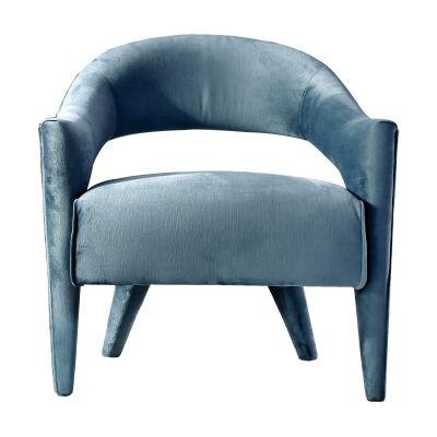 Tubby Velvet Fabric Lounge Armchair, Teal