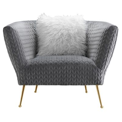 Britton Commercial Grade Quilted Velvet Fabric Armchair, Grey