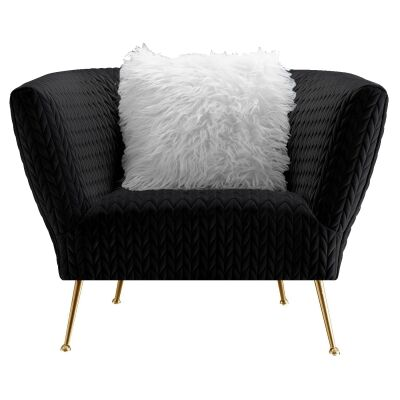 Britton Commercial Grade Quilted Velvet Fabric Armchair, Black