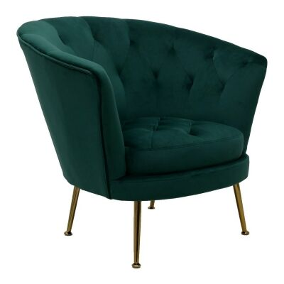 Palmos Commercial Grade Tufted Velvet Fabric Tub Chair, Emerald