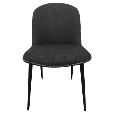 Rapallo Commercial Grade Fabric Dining Chair, Charcoal