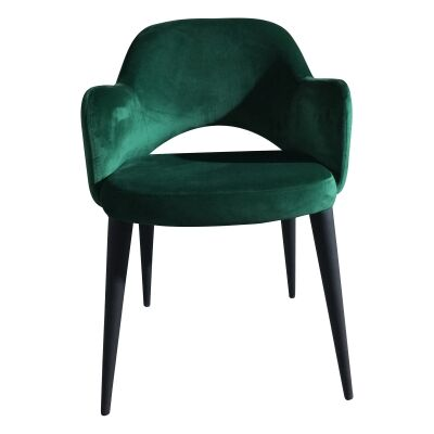 Terrazo Commercial Grade Velvet Fabric Dining Armchair, Emerald