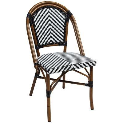 Amalfi Commercial Grade Wicker & Aluminium Indoor/Outdoor Dining Chair, Black