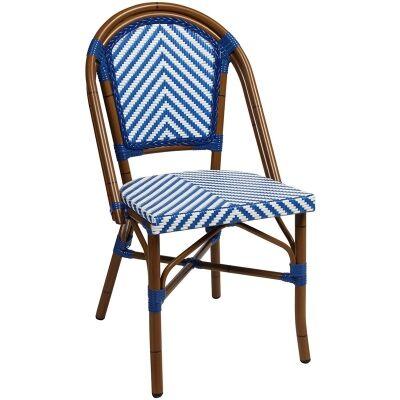 Amalfi Commercial Grade Wicker & Aluminium Indoor/Outdoor Dining Chair, Blue