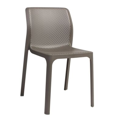 Bit Italian Made Commercial Grade Indoor/Outdoor Dining Chair, Taupe
