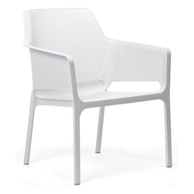 Relax Italian Made Commercial Grade Indoor/Outdoor Dining Armchair, White
