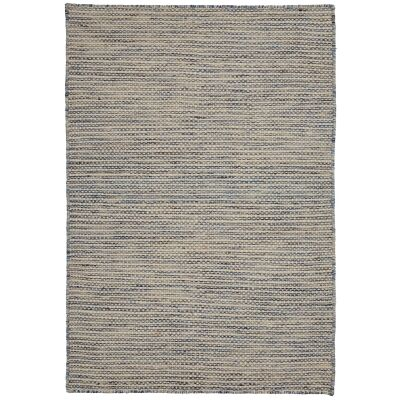 Chicago No.49 Handwoven Reversible Wool & Cotton Rug, 330x240cm, Blue