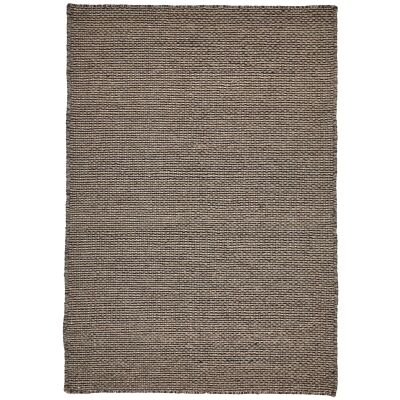 Chicago No.49 Handwoven Reversible Wool & Cotton Rug, 150x70cm, Grey