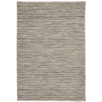 Chicago No.95 Handwoven Reversible Wool & Cotton Rug, 130x70cm, Charcoal