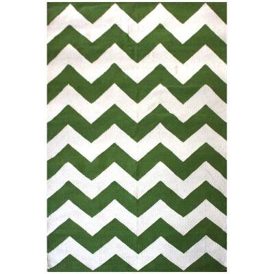 Curl Chevron Modern Cotton Rug, 290x200cm, Green