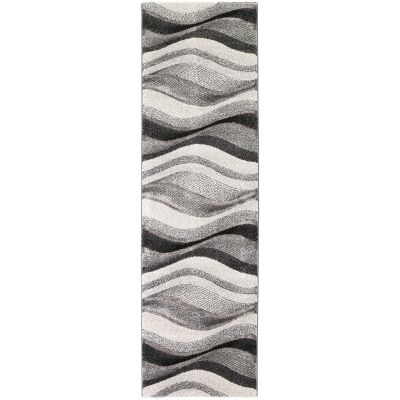 Vision Waves Modern Runner Rug, 400x80cm, Grey