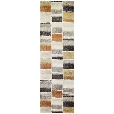 Vision Bricks Modern Runner Rug, 400x80cm, Multi