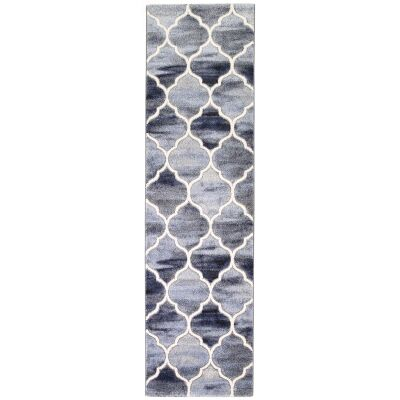 Vision Lattice Modern Runner Rug, 300x80cm, Blue / Grey