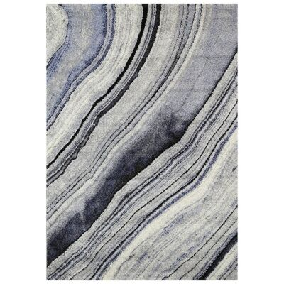 Vision Drift Modern Rug, 380x280cm, Grey / Blue