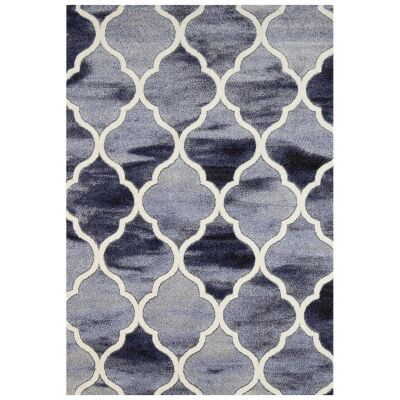 Vision Lattice Modern Rug, 380x280cm, Blue / Grey