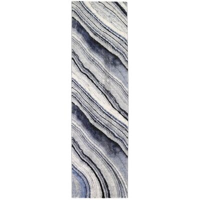 Vision Drift Modern Runner Rug, 300x80cm, Grey / Blue