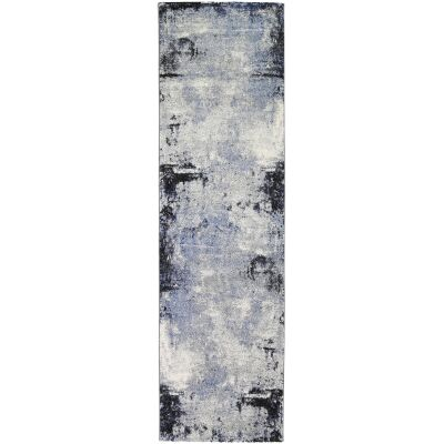 Vision Raw Modern Runner Rug, 400x80cm, Grey / Blue