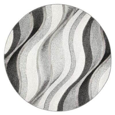 Vision Waves Round Rug, 240cm, Grey