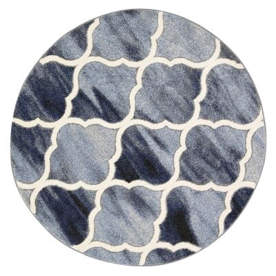 Vision Lattice Round Rug, 160cm, Blue / Grey