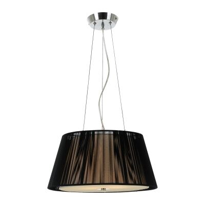 Chloe Fabric Pendant Light, Small, Black