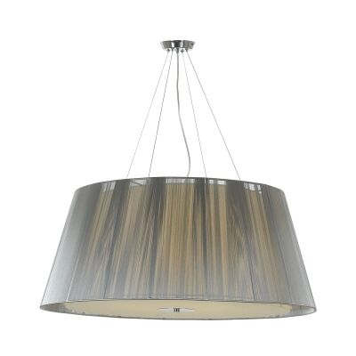 Chloe Fabric Pendant Light, Large, Silver