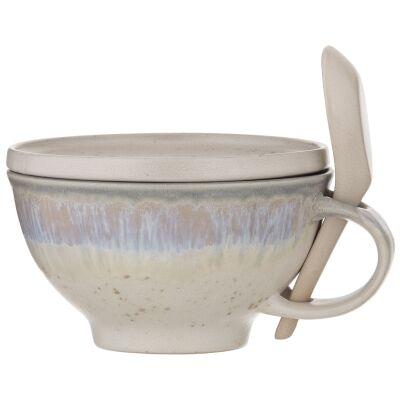 Aikido 3 Piece Reactive Glazed Ceramic Soup Mug Set, White