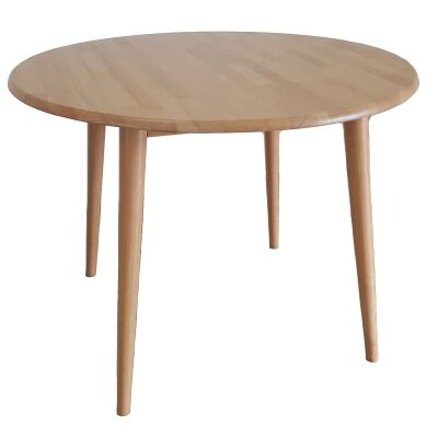 Charlie Rubberwood Round Dining Table, 100cm
