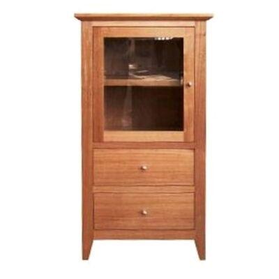 Thirlmere Tasmanian Oak Timber Audio Tower Cabinet, LHO Door