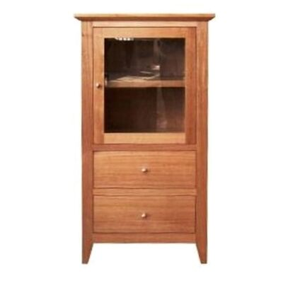 Thirlmere Tasmanian Oak Timber Audio Tower Cabinet, RHO Door