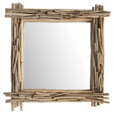 Semarang Teak Timber Frame Square Wall Mirror, 80cm